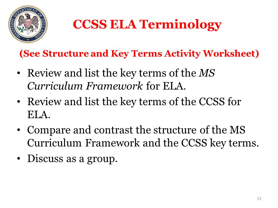 CCSS ELA Terminology Review and list the key terms of the MS Curriculum Framework for ELA.