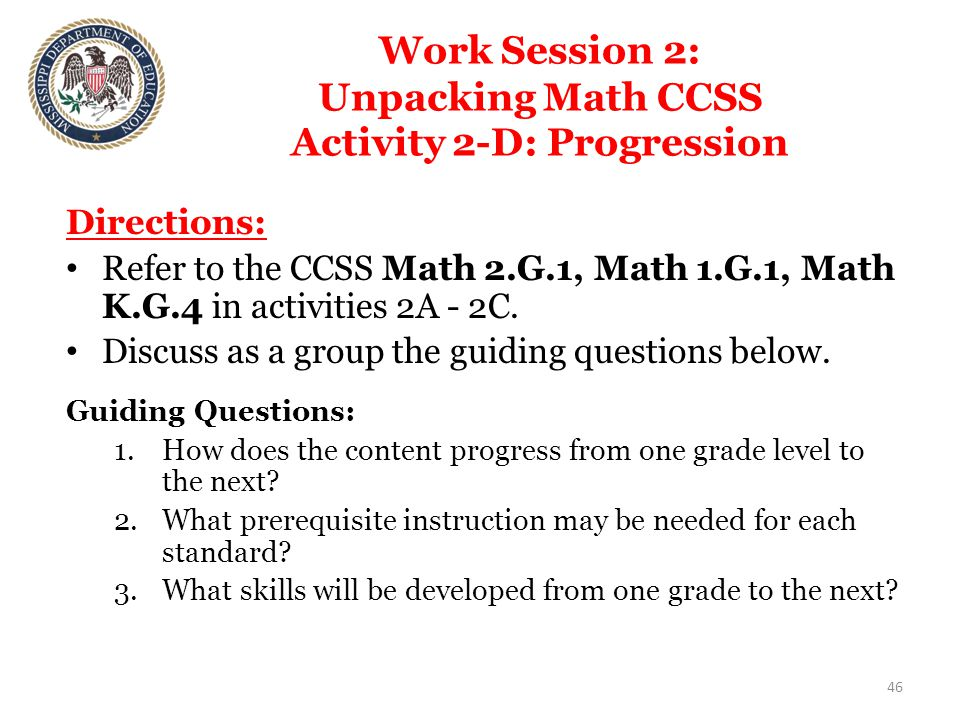 Work Session 2: Unpacking Math CCSS Activity 2-D: Progression Directions: Refer to the CCSS Math 2.G.1, Math 1.G.1, Math K.G.4 in activities 2A - 2C.