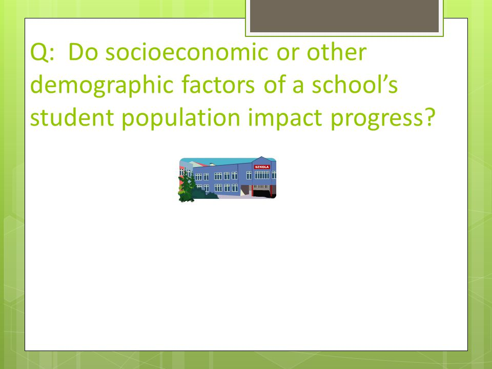 Q: Do socioeconomic or other demographic factors of a school's student population impact progress