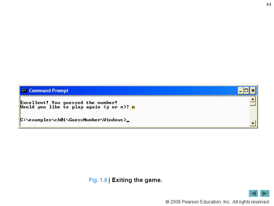  2008 Pearson Education, Inc. All rights reserved. 44 Fig. 1.8 | Exiting the game.