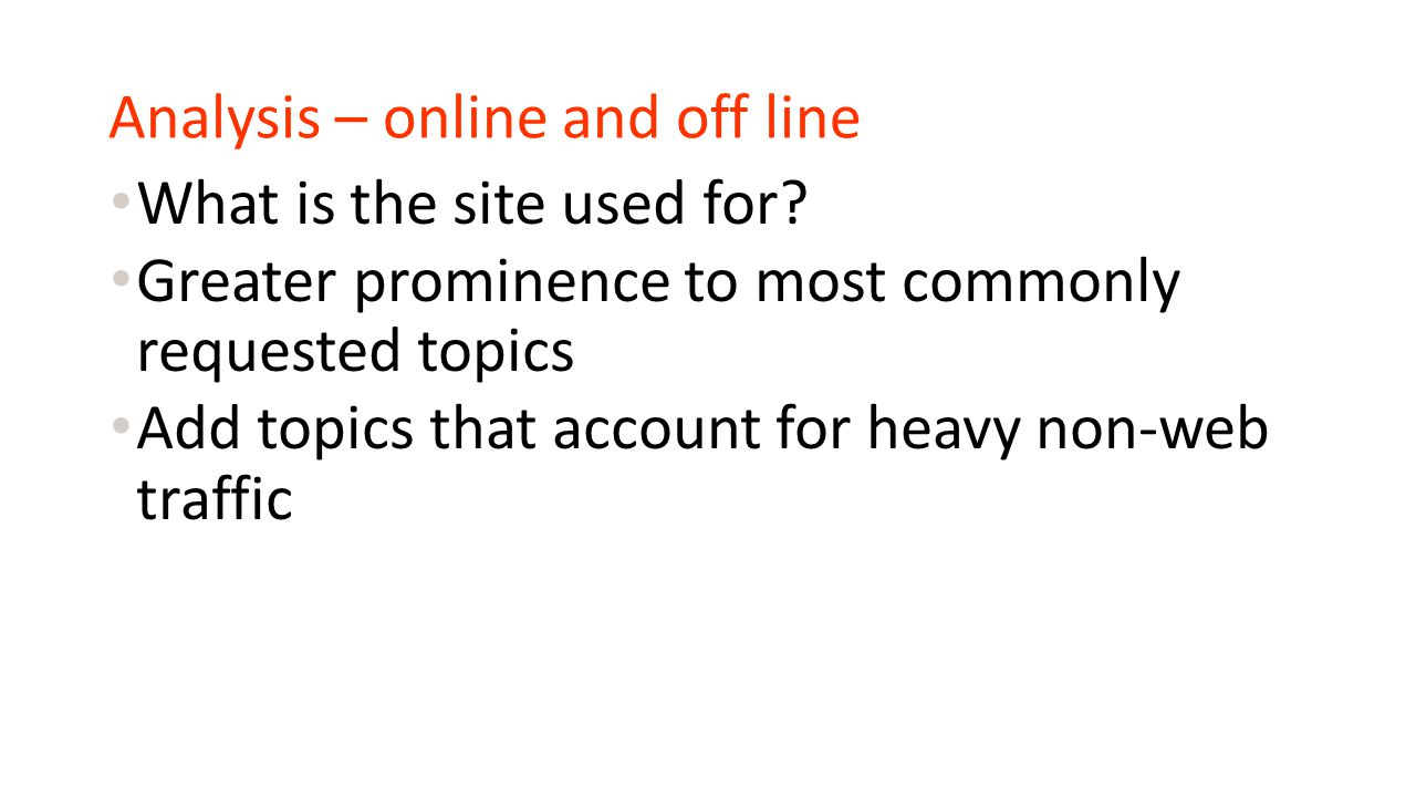 Analysis – online and off line What is the site used for.