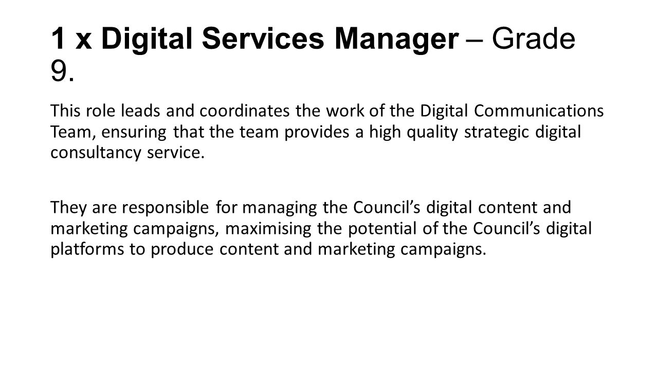 1 x Digital Services Manager – Grade 9.