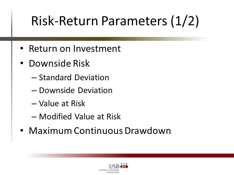 Risk-Return Parameters (2/2) 3-Factor Regression – Regression Alpha – Average Error term – Information Ratio Adaptation Current Research