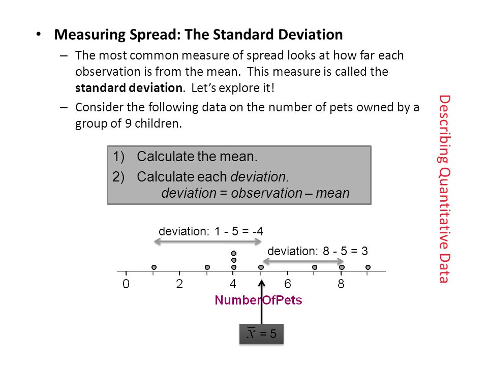 Measuring Spread: The Standard Deviation – The most common measure of spread looks at how far eachobservation is from the mean.