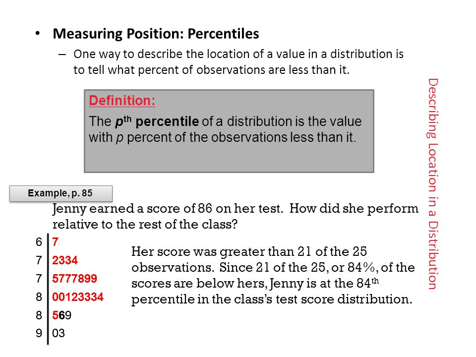 Describing Location in a Distribution Measuring Position: Percentiles – One way to describe the location of a value in a distribution isto tell what percent of observations are less than it.