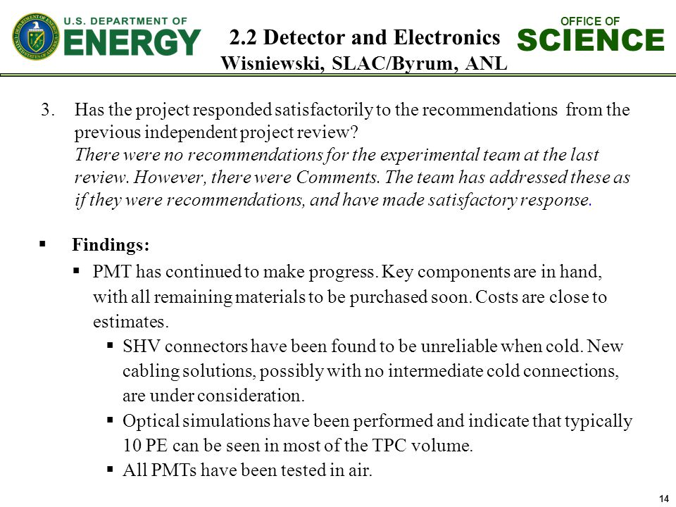 OFFICE OF SCIENCE 2.2 Detector and Electronics Wisniewski, SLAC/Byrum, ANL 14 3.Has the project responded satisfactorily to the recommendations from the previous independent project review.