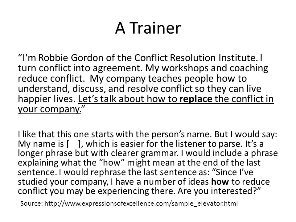 "A Trainer ""I'm Robbie Gordon of the Conflict Resolution Institute. I turn conflict into agreement. My workshops and coaching reduce conflict. My compa"