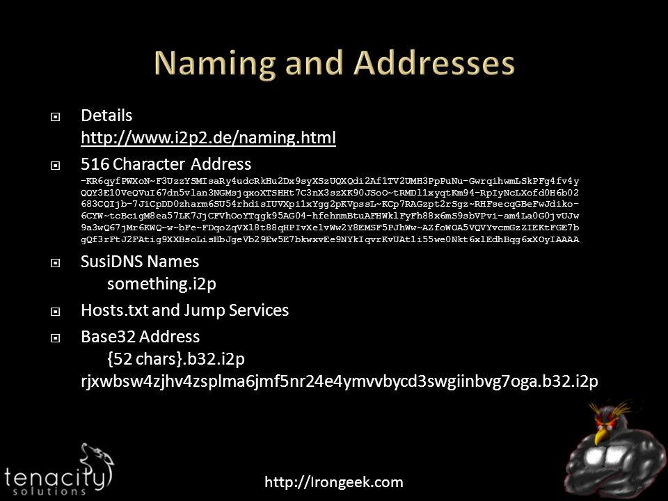  Details http://www.i2p2.de/naming.html http://www.i2p2.de/naming.html  516 Character Address -KR6qyfPWXoN~F3UzzYSMIsaRy4udcRkHu2Dx9syXSzUQXQdi2Af1TV2UMH3PpPuNu-GwrqihwmLSkPFg4fv4y QQY3E10VeQVuI67dn5vlan3NGMsjqxoXTSHHt7C3nX3szXK90JSoO~tRMDl1xyqtKm94-RpIyNcLXofd0H6b02 683CQIjb-7JiCpDD0zharm6SU54rhdisIUVXpi1xYgg2pKVpssL~KCp7RAGzpt2rSgz~RHFsecqGBeFwJdiko- 6CYW~tcBcigM8ea57LK7JjCFVhOoYTqgk95AG04-hfehnmBtuAFHWklFyFh88x6mS9sbVPvi-am4La0G0jvUJw 9a3wQ67jMr6KWQ~w~bFe~FDqoZqVXl8t88qHPIvXelvWw2Y8EMSF5PJhWw~AZfoWOA5VQVYvcmGzZIEKtFGE7b gQf3rFtJ2FAtig9XXBsoLisHbJgeVb29Ew5E7bkwxvEe9NYkIqvrKvUAt1i55we0Nkt6xlEdhBqg6xXOyIAAAA  SusiDNS Names something.i2p  Hosts.txt and Jump Services  Base32 Address {52 chars}.b32.i2p rjxwbsw4zjhv4zsplma6jmf5nr24e4ymvvbycd3swgiinbvg7oga.b32.i2p