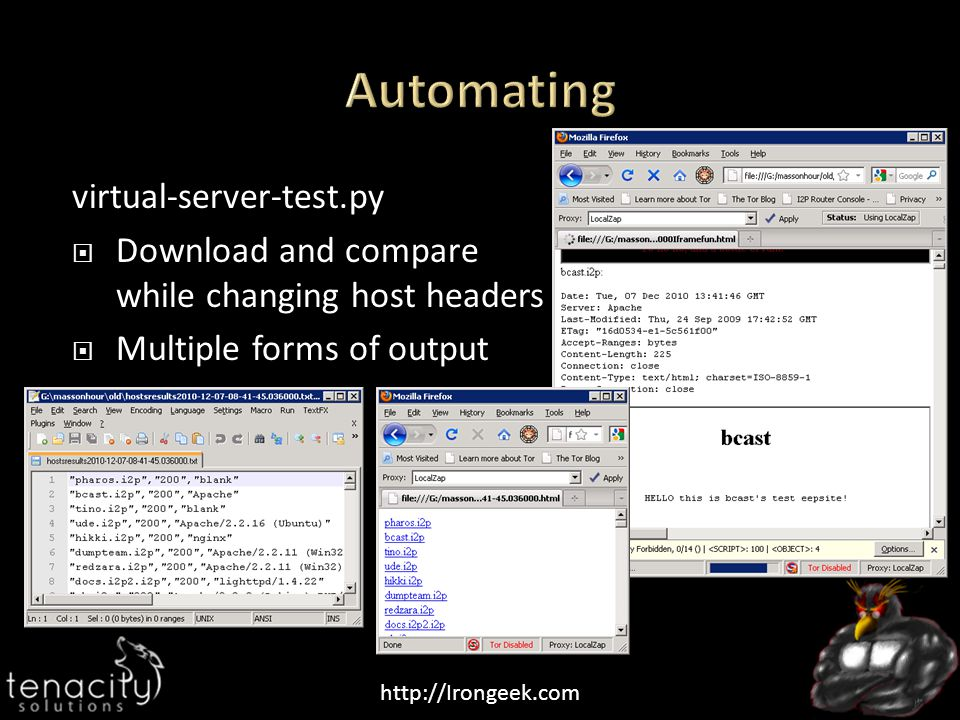 http://Irongeek.com virtual-server-test.py  Download and compare while changing host headers  Multiple forms of output