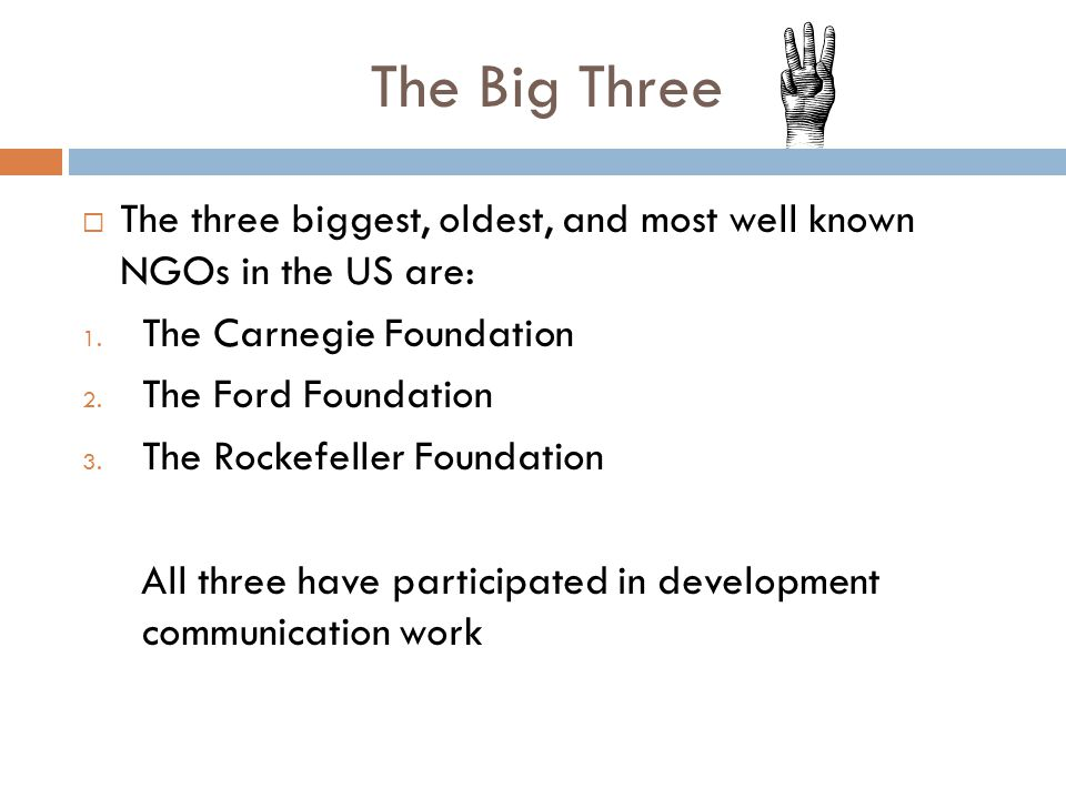 The Big Three  The three biggest, oldest, and most well known NGOs in the US are: 1.
