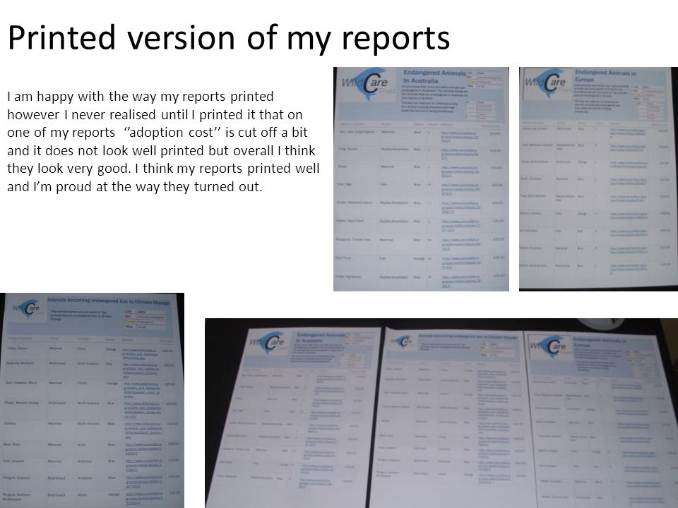 Printed version of my reports I am happy with the way my reports printed however I never realised until I printed it that on one of my reports ''adoption cost'' is cut off a bit and it does not look well printed but overall I think they look very good.