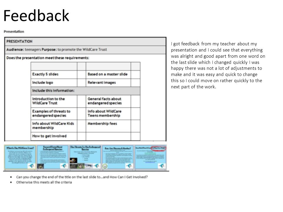 Feedback I got feedback from my teacher about my presentation and I could see that everything was alright and good apart from one word on the last slide which I changed quickly I was happy there was not a lot of adjustments to make and it was easy and quick to change this so I could move on rather quickly to the next part of the work.