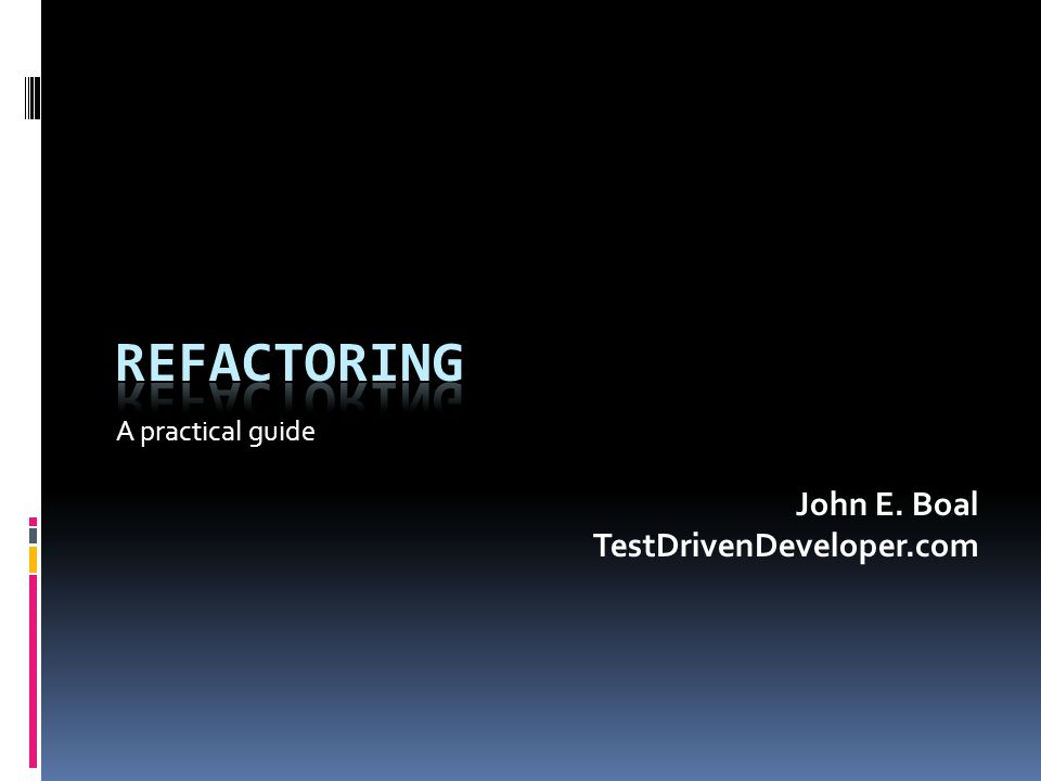 What is Refactoring. Refactor (verb)  1.