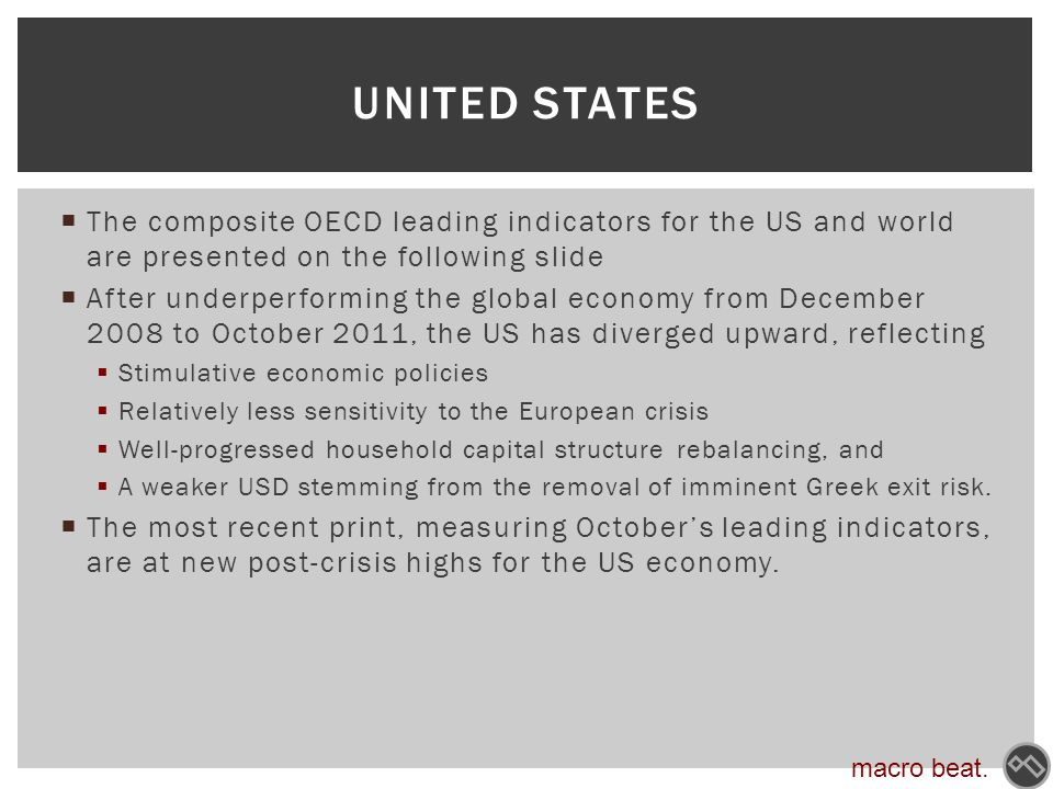  The composite OECD leading indicators for the US and world are presented on the following slide  After underperforming the global economy from December 2008 to October 2011, the US has diverged upward, reflecting  Stimulative economic policies  Relatively less sensitivity to the European crisis  Well-progressed household capital structure rebalancing, and  A weaker USD stemming from the removal of imminent Greek exit risk.