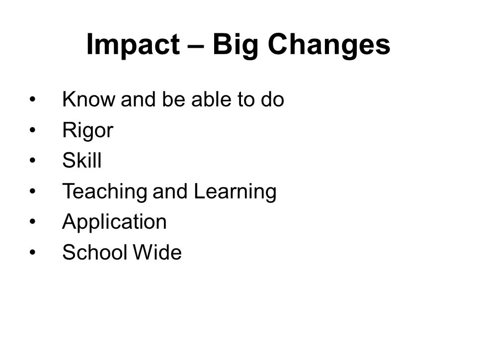 Impact – Big Changes Know and be able to do Rigor Skill Teaching and Learning Application School Wide