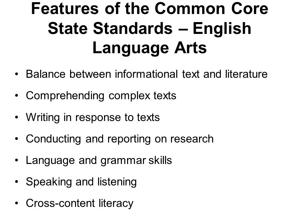 Features of the Common Core State Standards – Math Emphasis on mathematical practices Attention to focus and coherence Problem solving and reasoning Mathematical modeling Real world application
