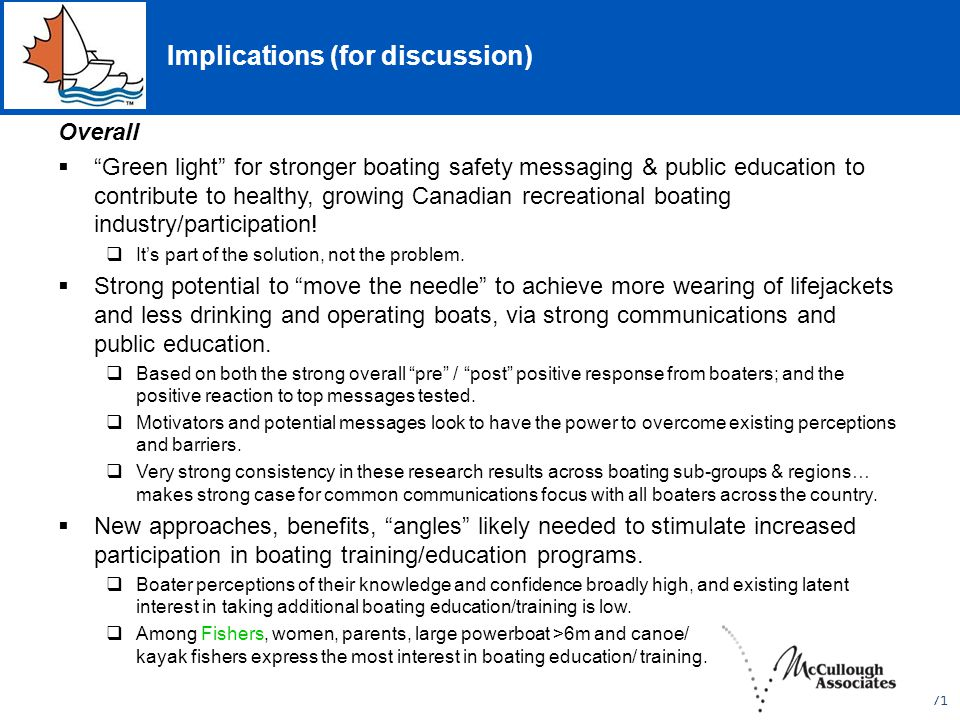 Implications (for discussion) Overall  Green light for stronger boating safety messaging & public education to contribute to healthy, growing Canadian recreational boating industry/participation.