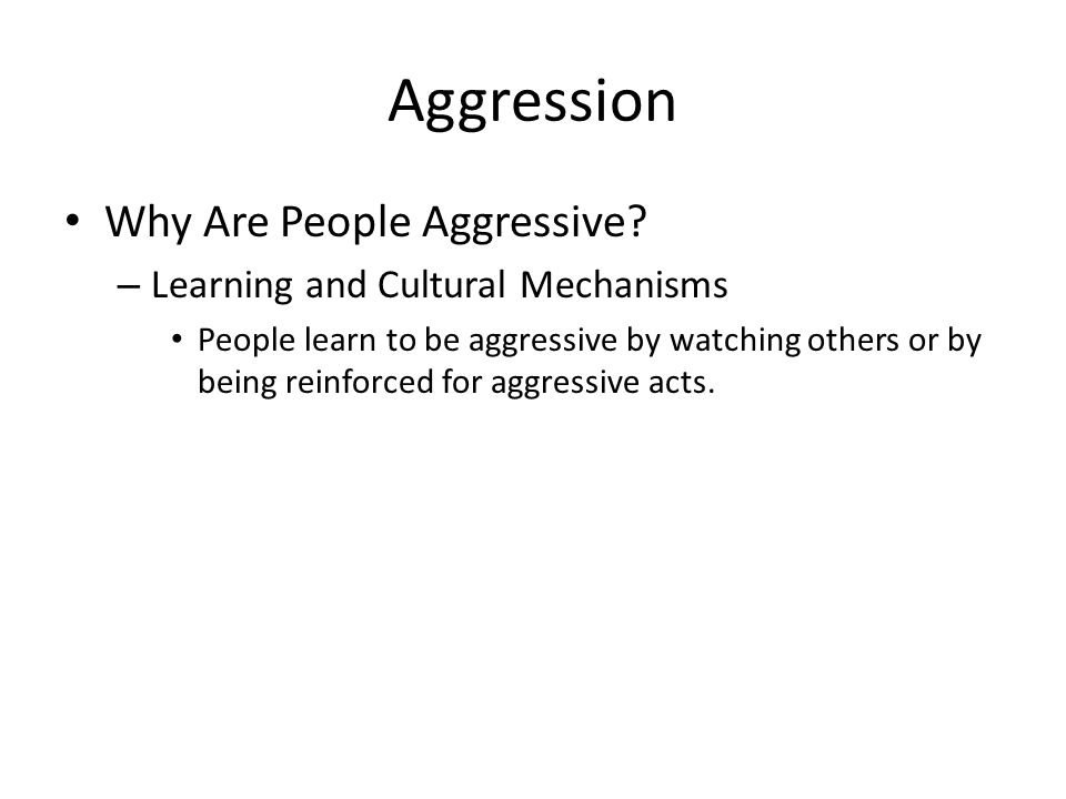 Aggression Why Are People Aggressive.