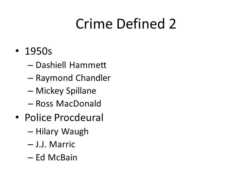 Crime Defined 2 1950s – Dashiell Hammett – Raymond Chandler – Mickey Spillane – Ross MacDonald Police Procdeural – Hilary Waugh – J.J.