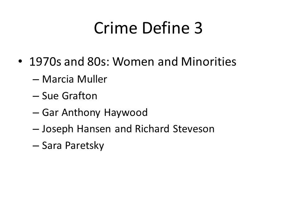 Crime Define 3 1970s and 80s: Women and Minorities – Marcia Muller – Sue Grafton – Gar Anthony Haywood – Joseph Hansen and Richard Steveson – Sara Paretsky