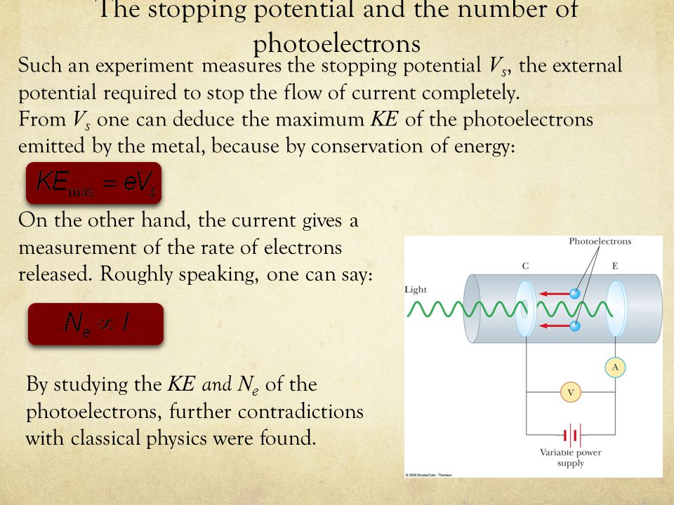 The stopping potential and the number of photoelectrons Such an experiment measures the stopping potential V s, the external potential required to stop the flow of current completely.