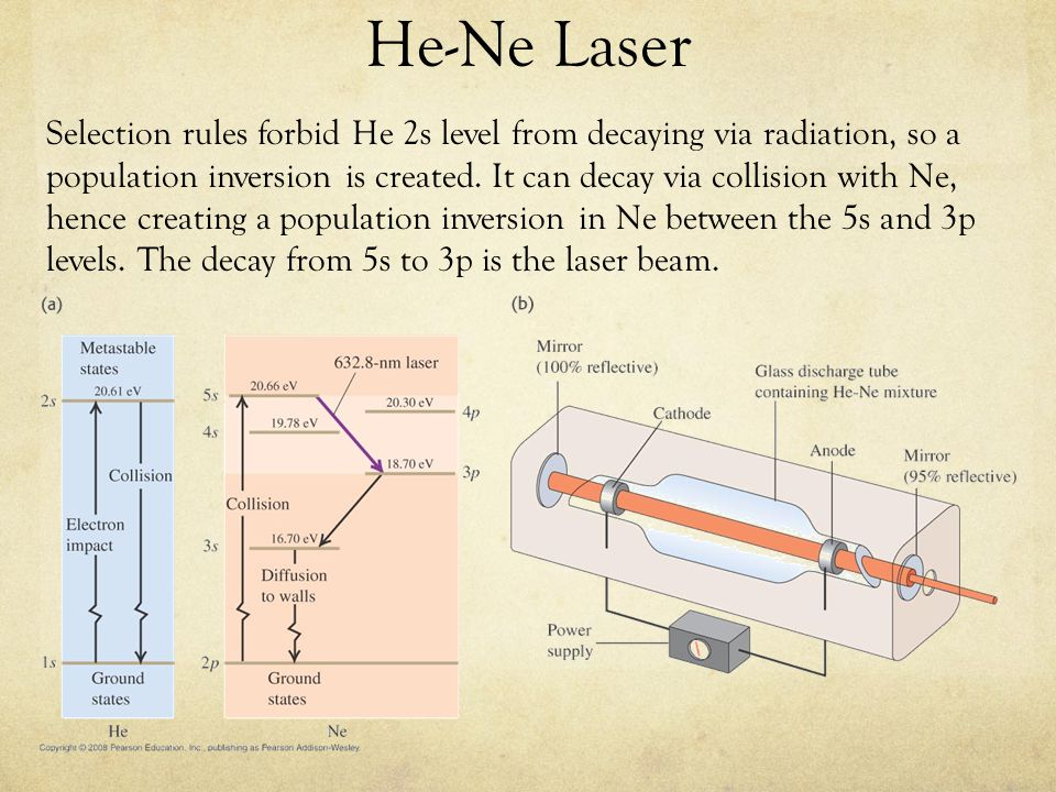 He-Ne Laser Selection rules forbid He 2s level from decaying via radiation, so a population inversion is created.