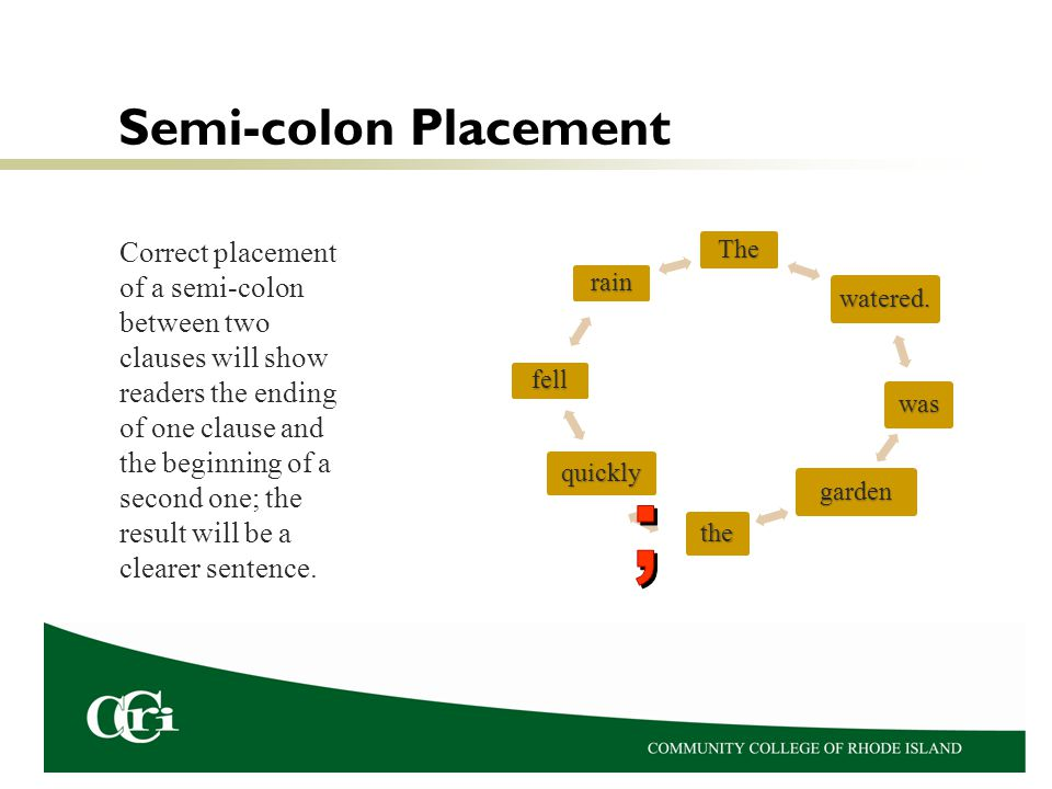 Semi-colon Placement Correct placement of a semi-colon between two clauses will show readers the ending of one clause and the beginning of a second one; the result will be a clearer sentence.