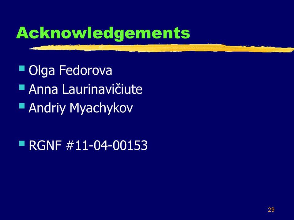 29 Acknowledgements  Olga Fedorova  Anna Laurinavičiute  Andriy Myachykov  RGNF #11-04-00153