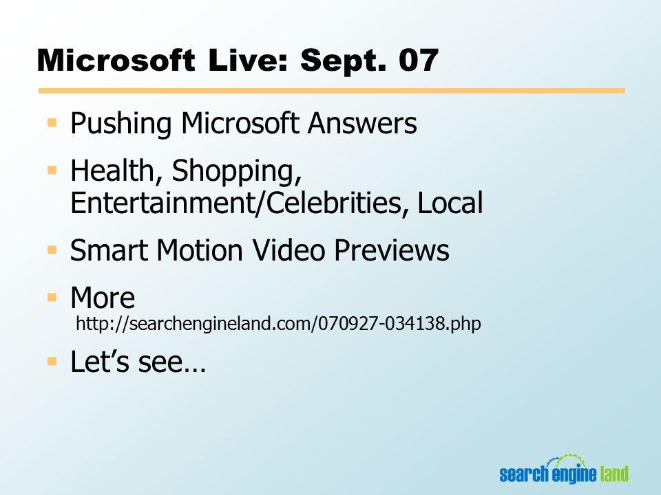 Microsoft Live: Sept.