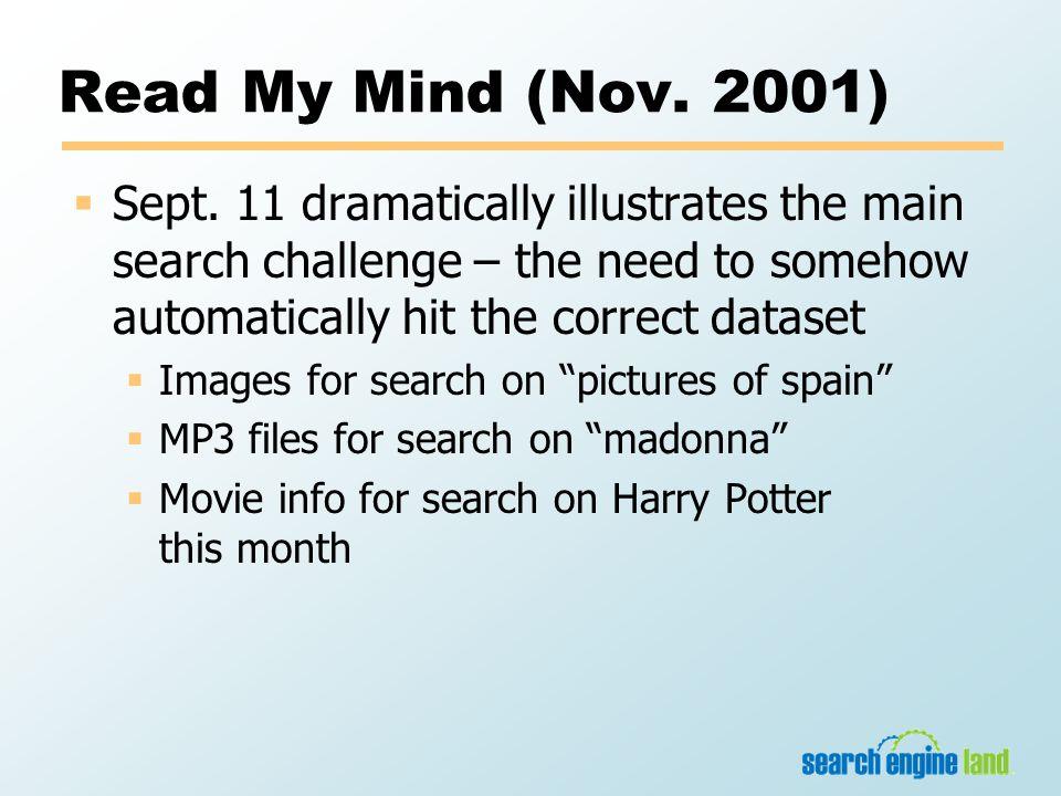 Read My Mind (Nov. 2001)  Sept.