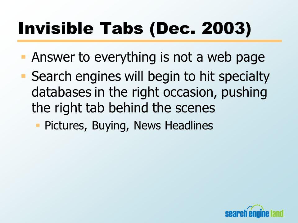 Invisible Tabs (Dec.