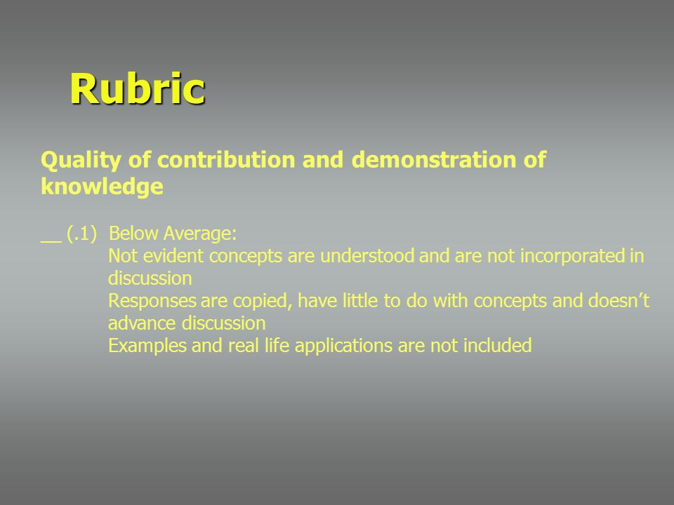 Rubric Quality of contribution and demonstration of knowledge __ (.1) Below Average: Not evident concepts are understood and are not incorporated in d