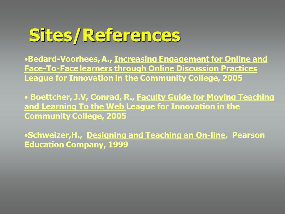 Sites/References Bedard-Voorhees, A., Increasing Engagement for Online and Face-To-Face learners through Online Discussion Practices League for Innovation in the Community College, 2005 Boettcher, J.V, Conrad, R., Faculty Guide for Moving Teaching and Learning To the Web League for Innovation in the Community College, 2005 Schweizer,H., Designing and Teaching an On-line, Pearson Education Company, 1999