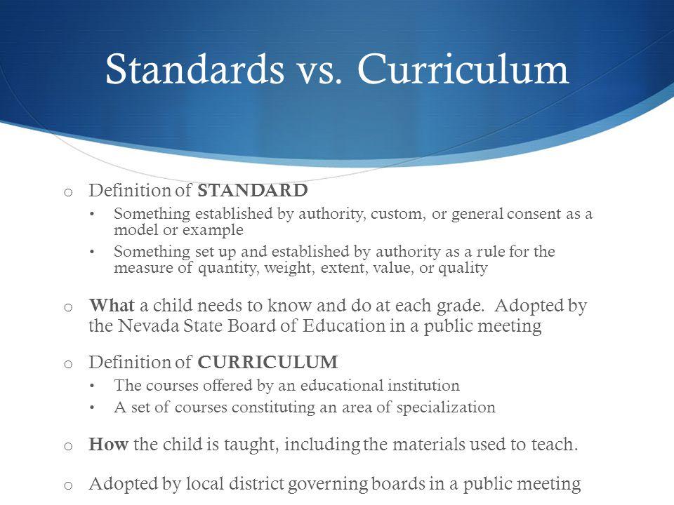 Standards vs.