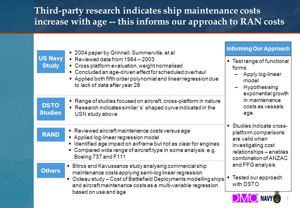 Booz & Company Third-party research indicates ship maintenance costs increase with age -- this informs our approach to RAN costs 7 US Navy Study DSTO Studies  2004 paper by Grinnell, Summerville, et al  Reviewed data from 1984 – 2003  Cross platform evaluation, weight normalised  Concluded an age-driven effect for scheduled overhaul  Applied both fifth order polynomial and linear regression due to lack of data after year 28  Range of studies focused on aircraft, cross-platform in nature  Research indicates similar 's' shaped curve indicated in the USN study above RAND  Reviewed aircraft maintenance costs versus age  Applied log-linear regression model  Identified age impact on airframe but not as clear for engines  Compared wide range of aircraft type in some analysis, e.g.