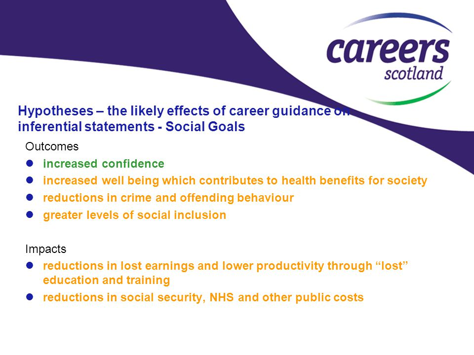 Hypotheses – the likely effects of career guidance on inferential statements - Social Goals Outcomes increased confidence increased well being which contributes to health benefits for society reductions in crime and offending behaviour greater levels of social inclusion Impacts reductions in lost earnings and lower productivity through lost education and training reductions in social security, NHS and other public costs