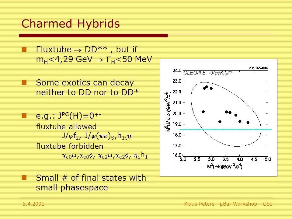 5.4.2001Klaus Peters - pBar Workshop - GSI Charmed Hybrids Fluxtube  DD**, but if m H <4,29 GeV   H <50 MeV Some exotics can decay neither to DD nor to DD* e.g.: J PC (H)=0 +- fluxtube allowed J/f 2, J/() S,h 1c  fluxtube forbidden  c0 , c0 ,  c2 , c2 ,  c h 1 Small # of final states with small phasespace CLEO-II B  J/  K (S) (±)