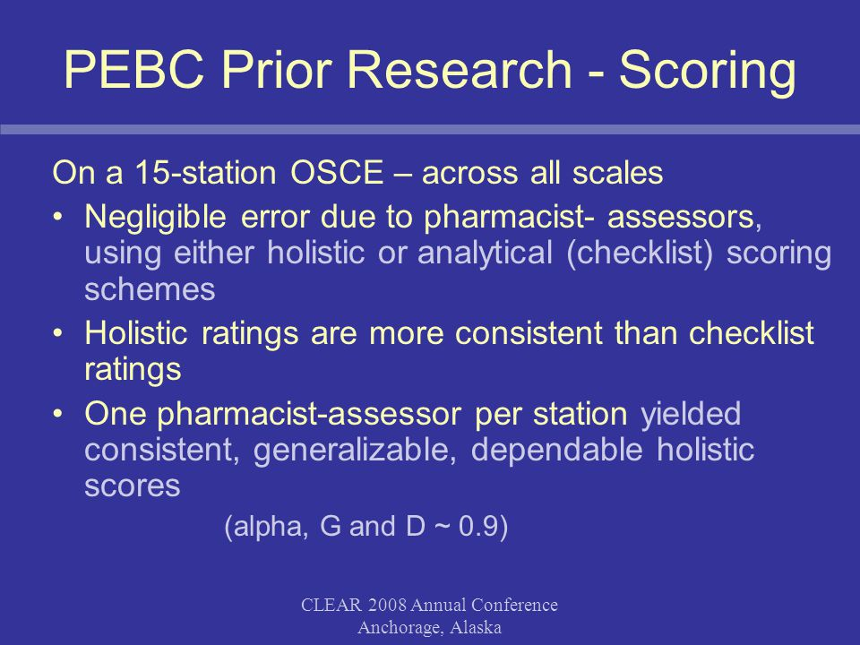 CLEAR 2008 Annual Conference Anchorage, Alaska PEBC Prior Research - Scoring Rating consistency was higher between two pharmacist assessors than between a pharmacist-assessor and the SP simulator when rating Communication SP simulators should not replace pharmacist- assessors for rating candidates' performance (including Communication) Consistency of rating scales –Communication - lowest consistency
