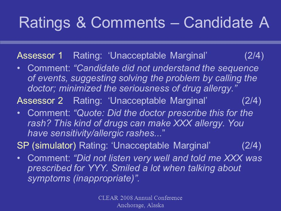 CLEAR 2008 Annual Conference Anchorage, Alaska Ratings & Comments – Candidate A Assessor 1 Rating: 'Unacceptable Marginal' (2/4) Comment: Candidate did not understand the sequence of events, suggesting solving the problem by calling the doctor; minimized the seriousness of drug allergy. Assessor 2 Rating: 'Unacceptable Marginal' (2/4) Comment: Quote: Did the doctor prescribe this for the rash.
