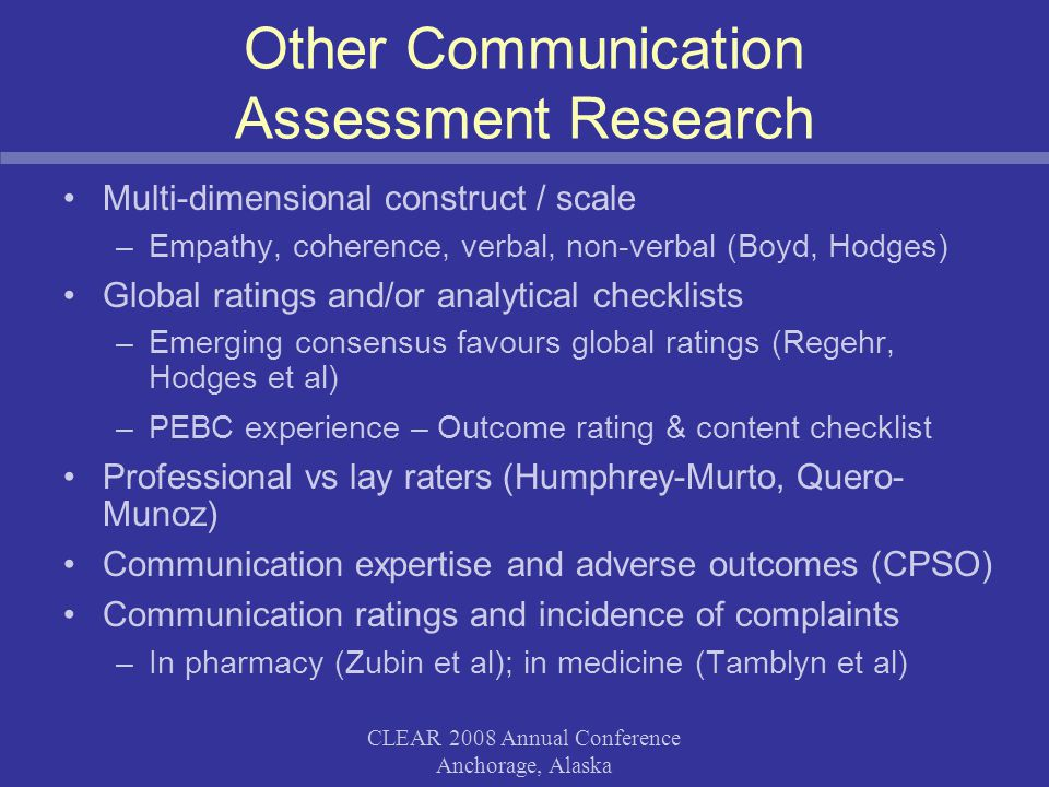CLEAR 2008 Annual Conference Anchorage, Alaska Other Communication Assessment Research Multi-dimensional construct / scale –Empathy, coherence, verbal