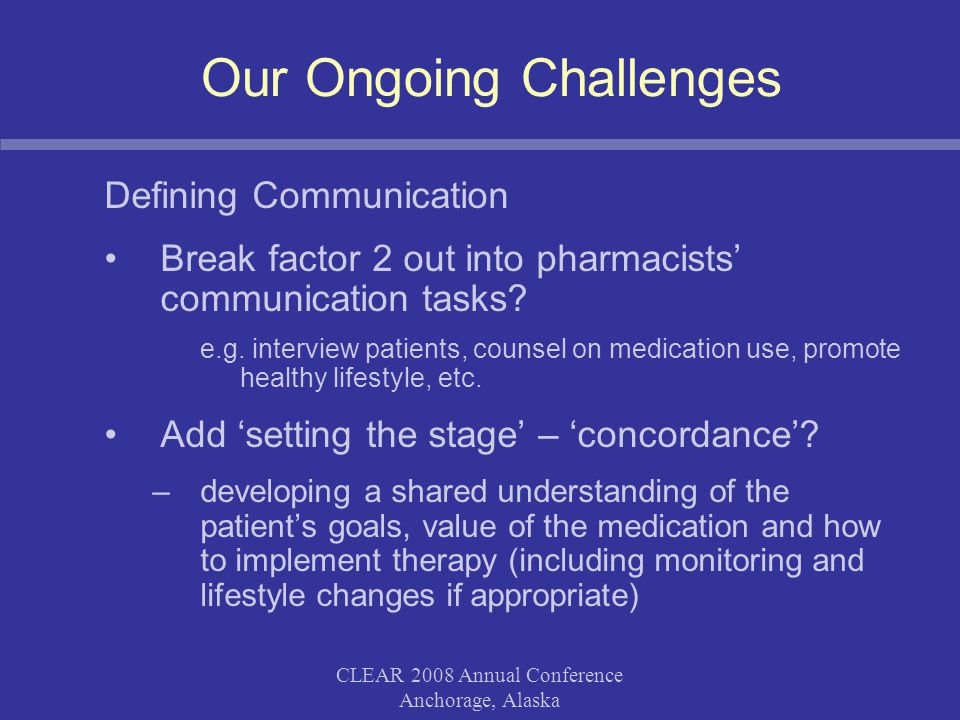 CLEAR 2008 Annual Conference Anchorage, Alaska Our Ongoing Challenges Defining Communication Break factor 2 out into pharmacists' communication tasks?