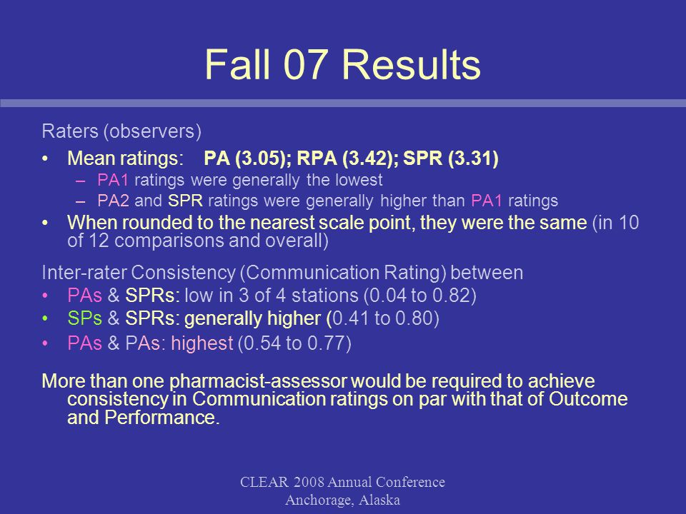 CLEAR 2008 Annual Conference Anchorage, Alaska Fall 07 Results Raters (observers) Mean ratings: PA (3.05); RPA (3.42); SPR (3.31) –PA1 ratings were ge
