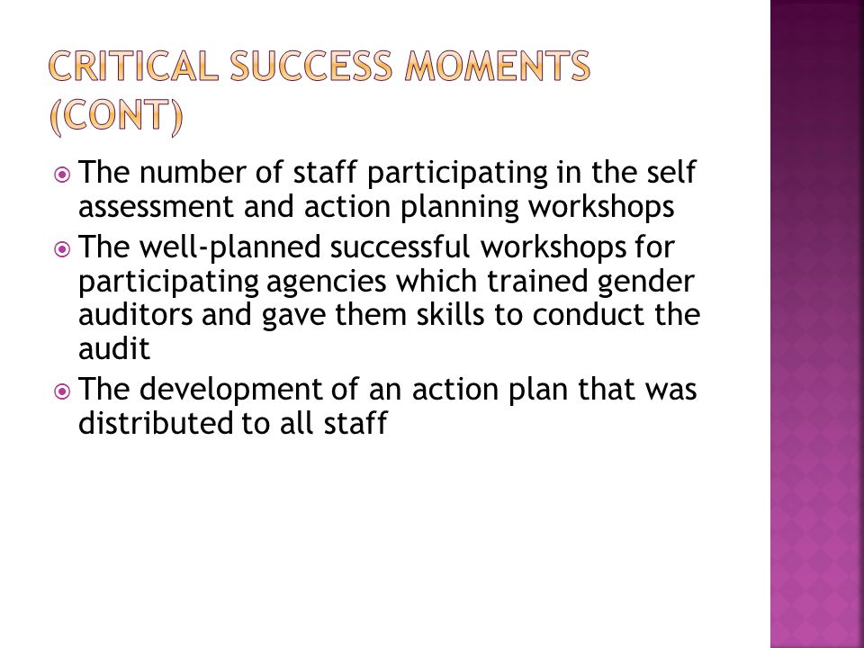  The number of staff participating in the self assessment and action planning workshops  The well-planned successful workshops for participating agencies which trained gender auditors and gave them skills to conduct the audit  The development of an action plan that was distributed to all staff