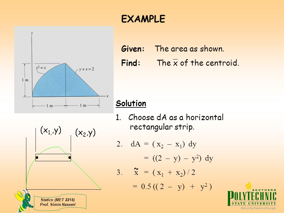 Statics (MET 2214) Prof. Simin Nasseri EXAMPLE Given: The area as shown. Find: The x of the centroid. Solution 1. Choose dA as a horizontal rectangula