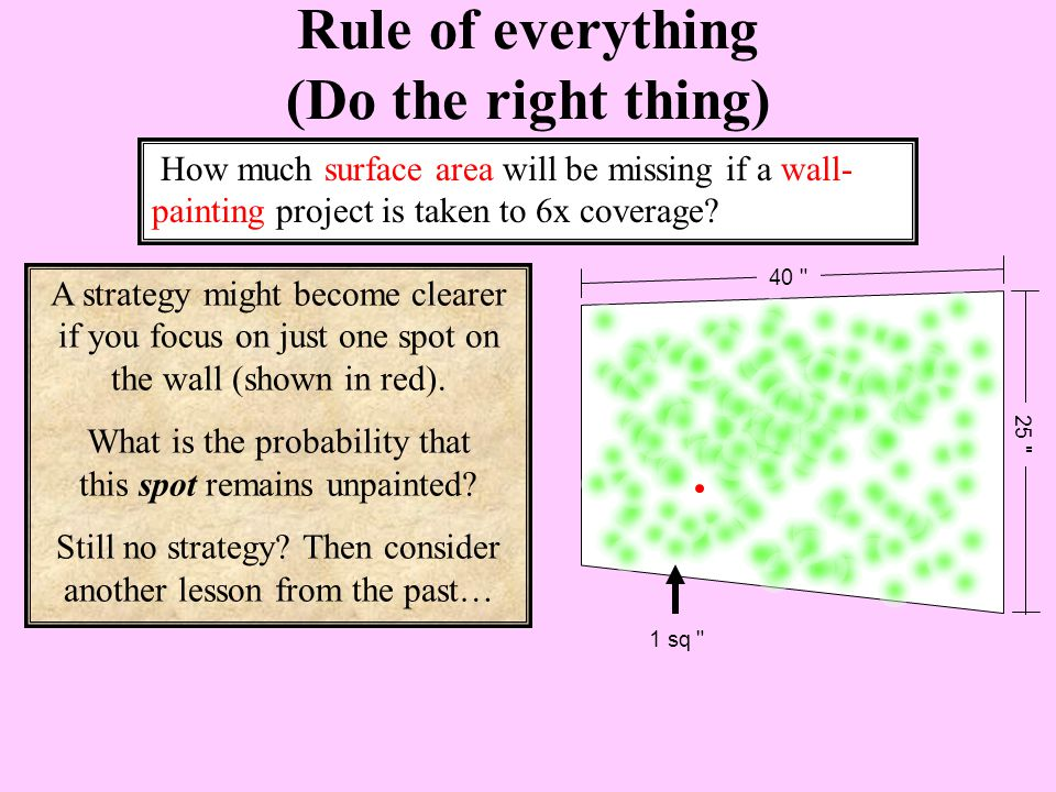 A strategy might become clearer if you focus on just one spot on the wall (shown in red).