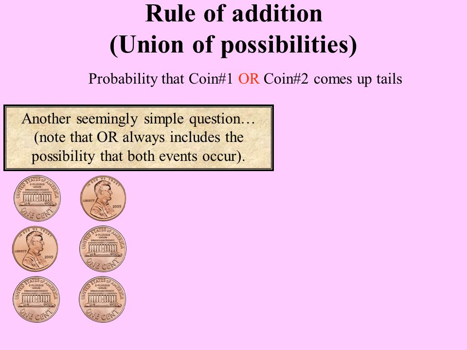Probability that Coin#1 OR Coin#2 comes up tails Rule of addition (Union of possibilities) Another seemingly simple question… (note that OR always includes the possibility that both events occur).