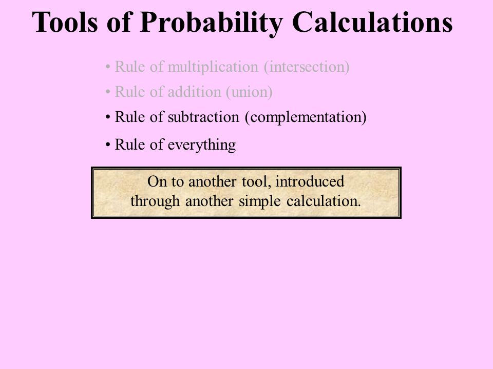 Tools of Probability Calculations Rule of multiplication (intersection) Rule of addition (union) Rule of subtraction (complementation) On to another tool, introduced through another simple calculation.