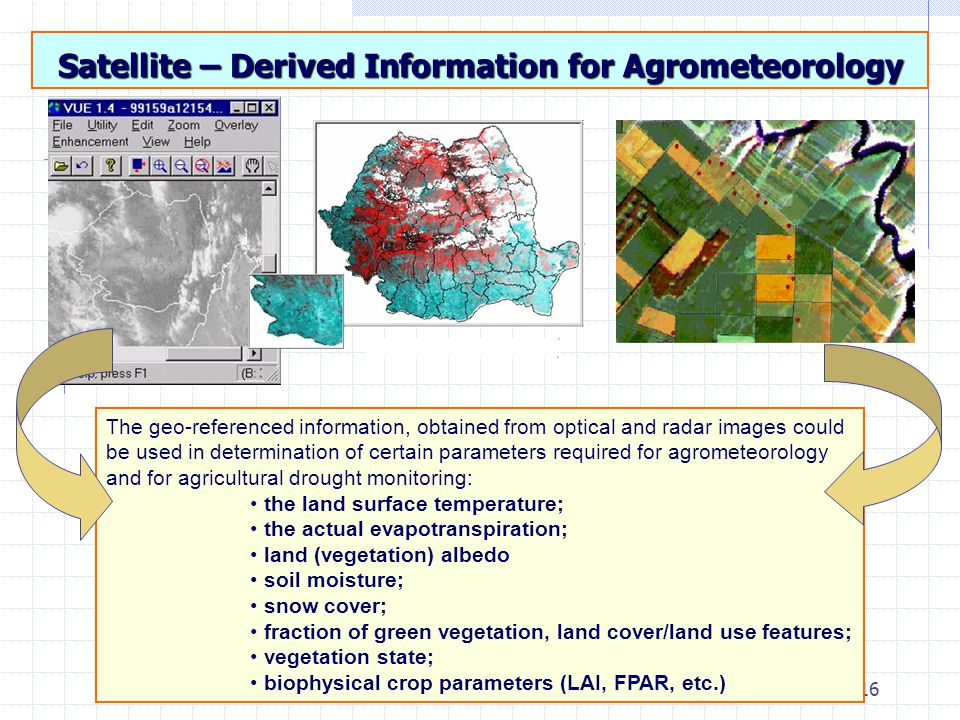 16 Satellite – Derived Information for Agrometeorology The geo-referenced information, obtained from optical and radar images could be used in determination of certain parameters required for agrometeorology and for agricultural drought monitoring: the land surface temperature; the actual evapotranspiration; land (vegetation) albedo soil moisture; snow cover; fraction of green vegetation, land cover/land use features; vegetation state; biophysical crop parameters (LAI, FPAR, etc.)