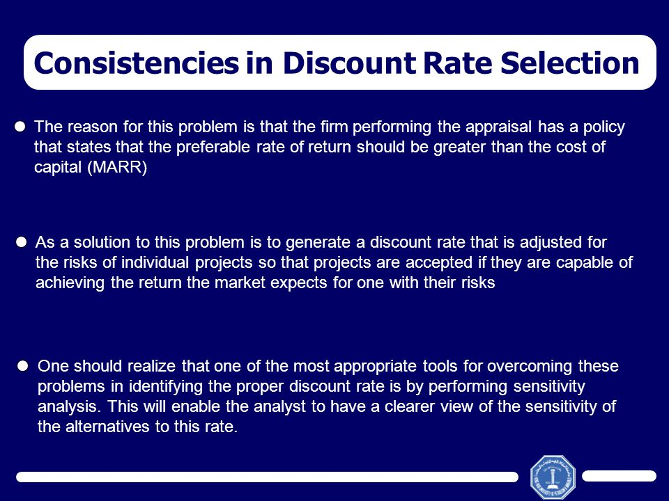 Consistencies in Discount Rate Selection The reason for this problem is that the firm performing the appraisal has a policy that states that the prefe