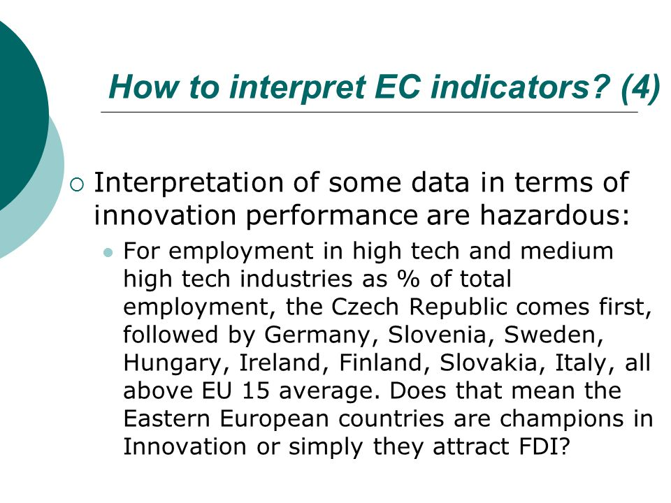 How to interpret EC indicators.